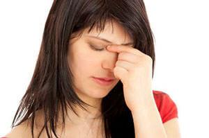 Заложенность носа и болезненность в области глаз и носа
