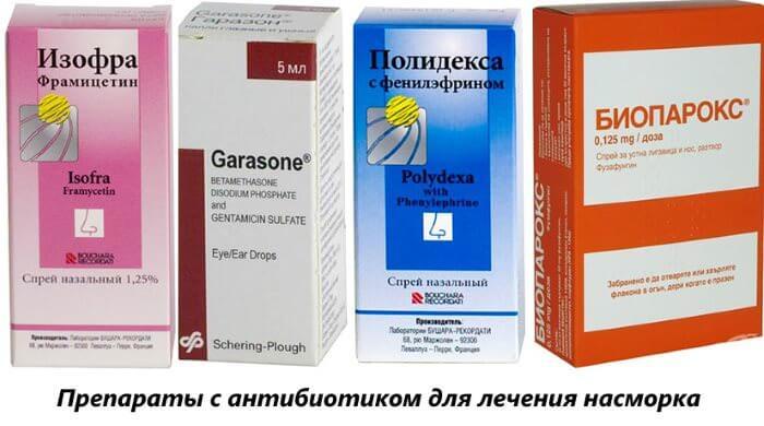 Препараты с антибиотиком для лечения насморка