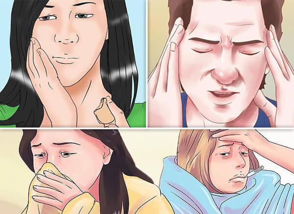 Симптомы одонтогенного гайморита - головная боль, припухлость , насморк, повышение температуры